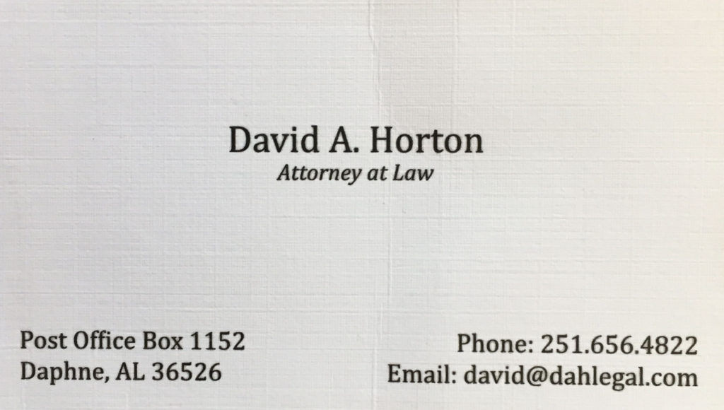 David A Horton - Attorney at Law - 251-656-4822